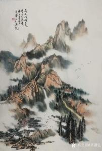 吴谦弘国画作品《山居图-吴谦弘红木绫》价格18000.00元