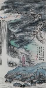 吴谦弘国画作品-《曲径高处胜境开-双绫》
