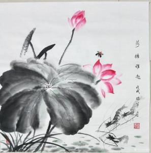 李振军国画作品《荷塘雅趣》价格480.00元