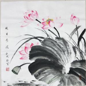 李振军国画作品《映日荷花》价格480.00元