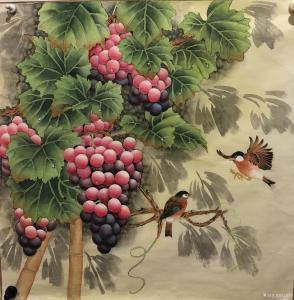 石海博国画作品-《硕果飘香》