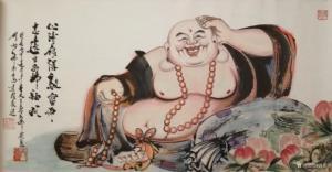 尚建国国画《大自在弥勒佛》