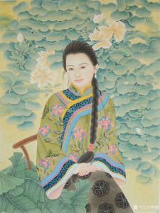 韩梅国画《民国妆美女图》