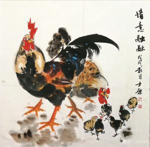 卢士杰国画作品《情意融融》价格700.00元