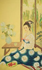 韩梅国画《仕女图》