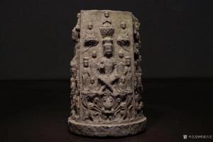 明清古艺雕刻作品-《青石四面万佛幢》