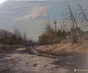 宋德发油画作品《村边的小溪》议价