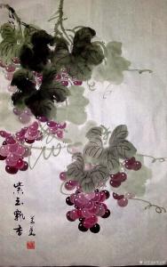 李万勤国画作品《紫玉飘香》价格100.00元