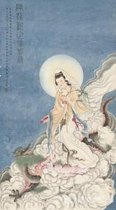 林文通国画作品-《《降龙观音》》