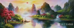 黎群油画作品《风景油画-漓江春水》价格1200.00元