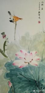 张清永国画作品《荷花-西湖一角》价格300.00元