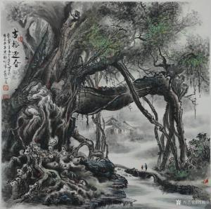 周顺生国画《四尺斗方古榕迎春》