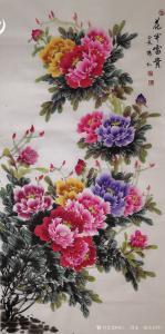 韩仁(国家一级美术师)国画作品《花开富贵》价格500.00元