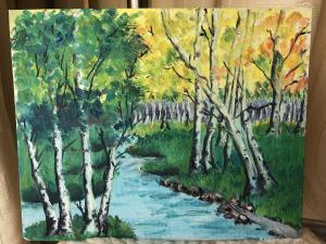 13262588865油画作品-《五彩的森林》
