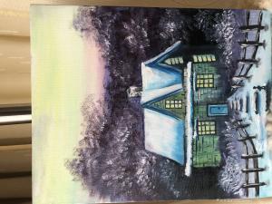 13262588865油画作品-《郊外晚上的旅舍》