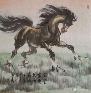 刘建国国画作品《马-天堂草原我的家》价格600.00元