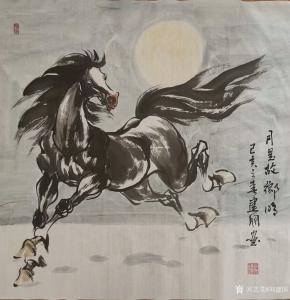 刘建国国画作品《马-月是故乡明》价格600.00元