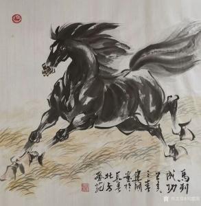 刘建国国画作品-《马到成功》