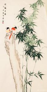 嵇境雷国画作品-《竹报平安-作者许墨》