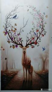 黎群油画作品《神鹿》价格1200.00元