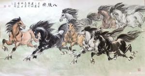 刘建国国画作品-《马-八骏图》