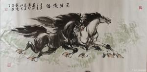 刘建国国画作品-《马-天涯俊侣》