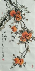 刘建岭国画《柿—事事如意》