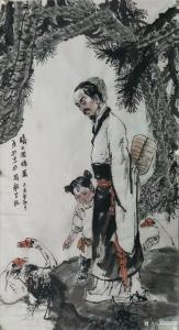 赵国毅国画《人物画—羲之爱鹅图》