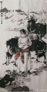 赵国毅国画《贺兰山下牧马图》
