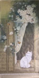 汪林国画作品《猫-赏花观蝶》价格800.00元