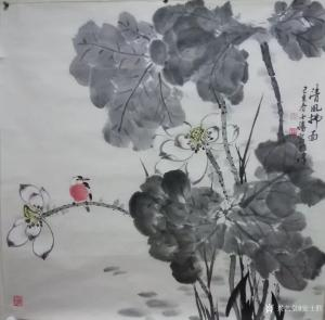 安士胜国画作品《荷花-清风拂面》价格3000.00元