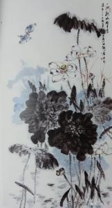 安士胜国画作品《荷花-一池秋水暗生香》价格5000.00元