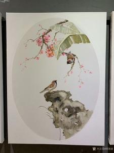 周海波油画作品-《新中式油画花鸟3联画》