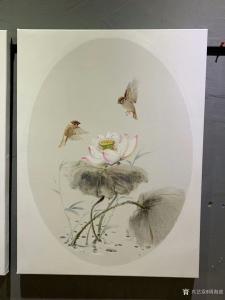 周海波油画作品-《新中式油画花鸟画套2》