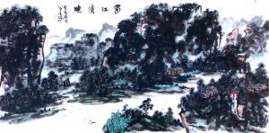 龚光万国画作品-《水墨-蜀江清晓》