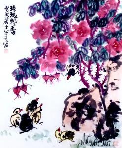 龚光万国画作品-《玫瑰飘香》