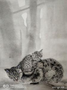 罗虹明国画作品《(猫)母子情》价格1000.00元