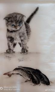 罗虹明国画《(猫)由余图》