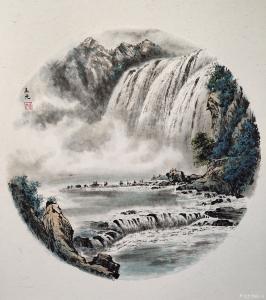 王元国画《飞流直下》