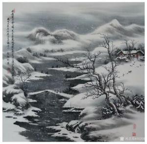 刘剑刚国画作品-《放船闲看雪山晴》