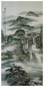 刘剑刚国画作品-《山水—满地松荫六月凉》