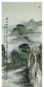 刘剑刚国画作品-《满地松阴六月凉》