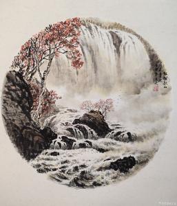 艺术品图片:艺术家王元国画作品名称《红树秋山走青波》价格1000.00 元