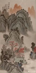 刘慧敏国画作品-《山水—江湾神韵》