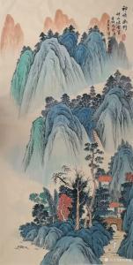 刘慧敏国画作品-《山水—神塔幽野》