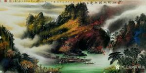 周顺生国画作品-《四尺山到秋深红更多》