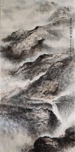 王元国画作品-《山雨壮溪流》