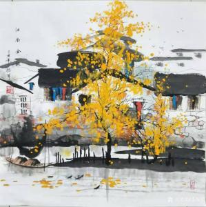 李振军国画作品《山水-江南金秋》价格480.00元