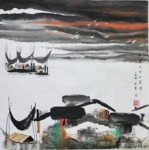 李振军国画作品《山水-西塞山前白鹭飞》价格480.00元