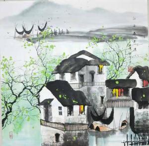 艺术品图片:艺术家李振军国画作品名称《山水-江南春意浓》价格480.00 元